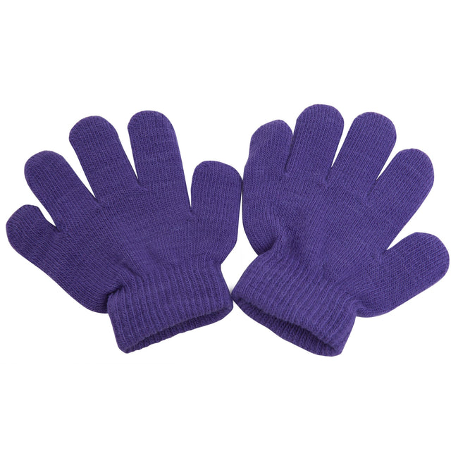 Purple - Front - Childrens-Kids Winter Magic Gloves