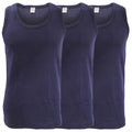 Navy - Front - FLOSO Mens Interlock Single Vest (Pack Of 3)
