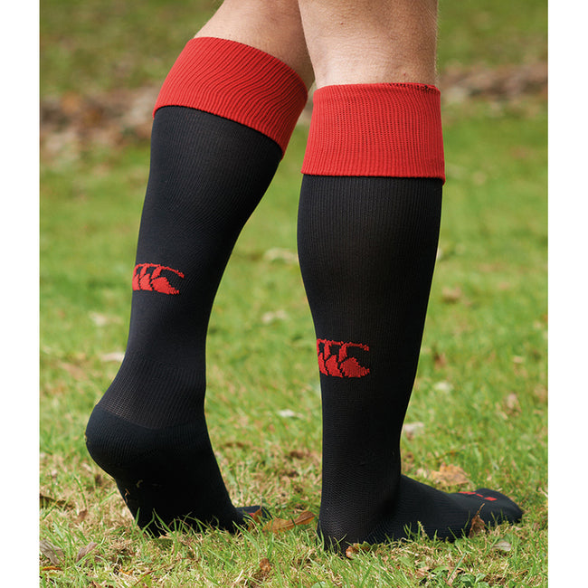 Black-Red - Side - Canterbury Mens Playing Cap Rugby Sport Socks