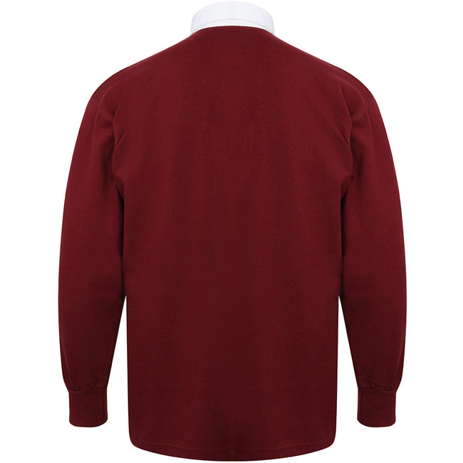 Deep Burgundy-White - Back - Front Row Long Sleeve Classic Rugby Polo Shirt