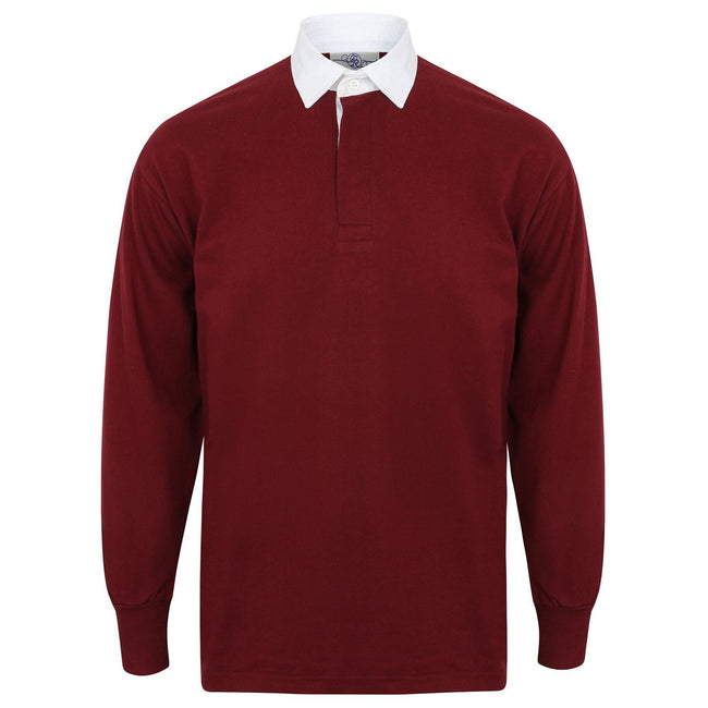 Deep Burgundy-White - Front - Front Row Long Sleeve Classic Rugby Polo Shirt