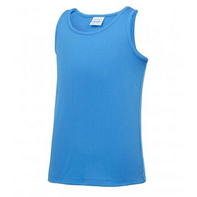 Sapphire - Front - AWDis Childrens-Kids Just Cool Sleeveless Vest Top