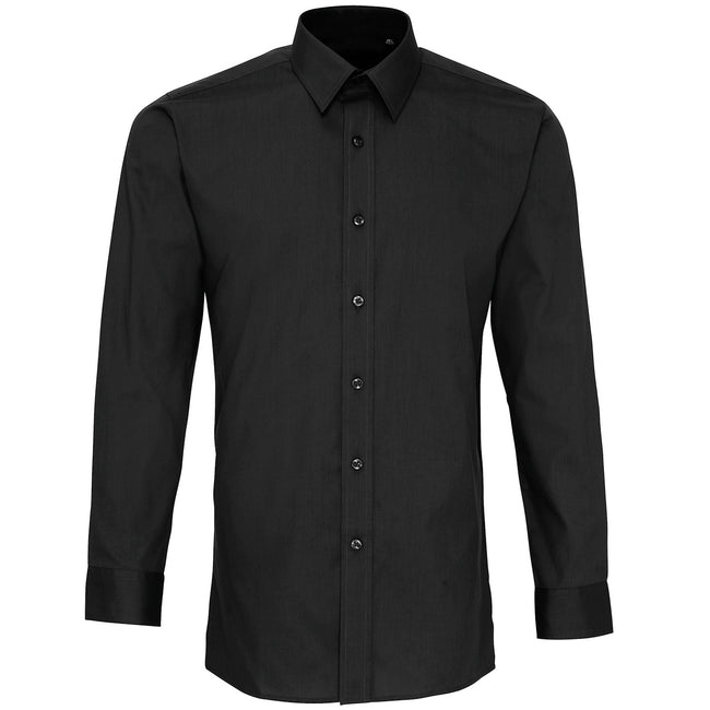 Black - Front - Premier Mens Long Sleeve Fitted Poplin Work Shirt