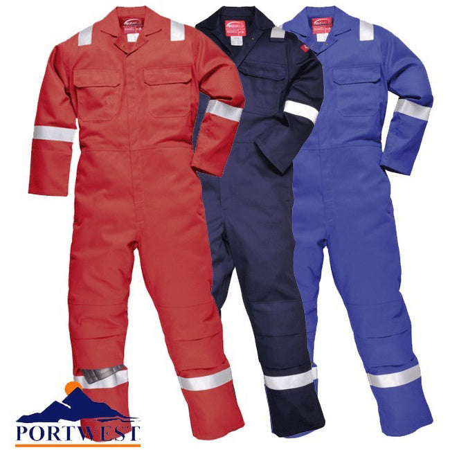 Navy - Back - Portwest Bizweld Iona Flame Resistant Work Overall-Coverall