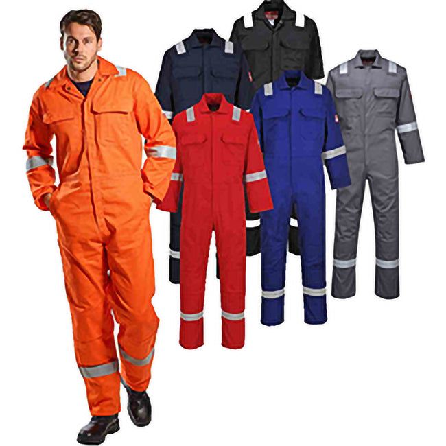 Orange - Back - Portwest Bizweld Iona Flame Resistant Work Overall-Coverall