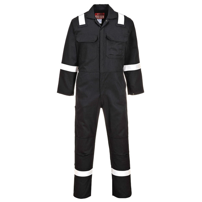 Black - Front - Portwest Bizweld Iona Flame Resistant Work Overall-Coverall