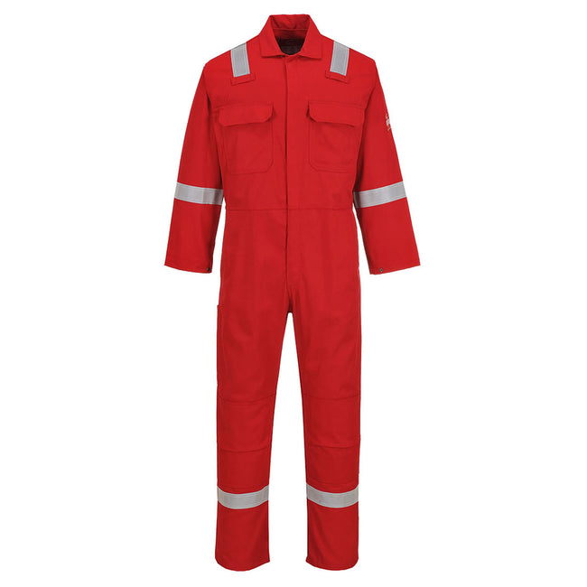 Red - Front - Portwest Bizweld Iona Flame Resistant Work Overall-Coverall