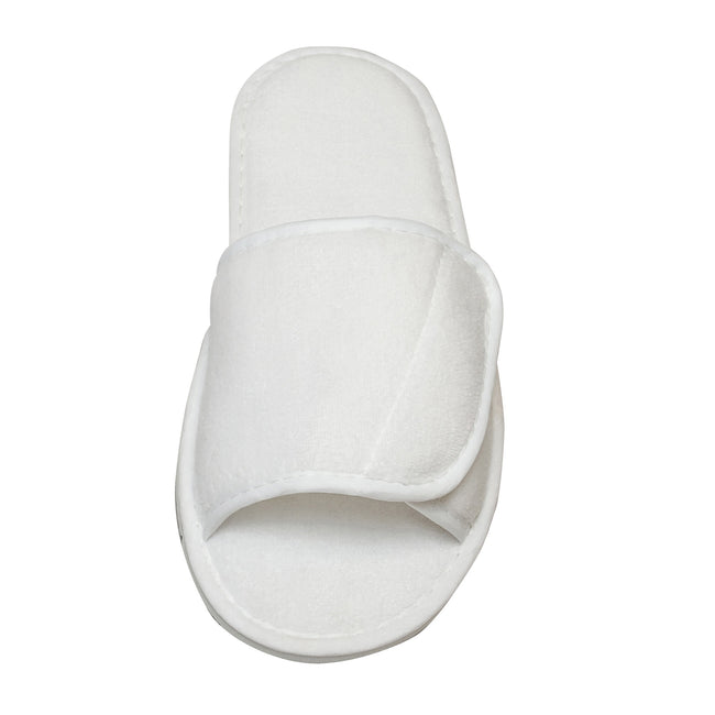 White - Side - Towel City Adults Unisex Open Toe Slippers