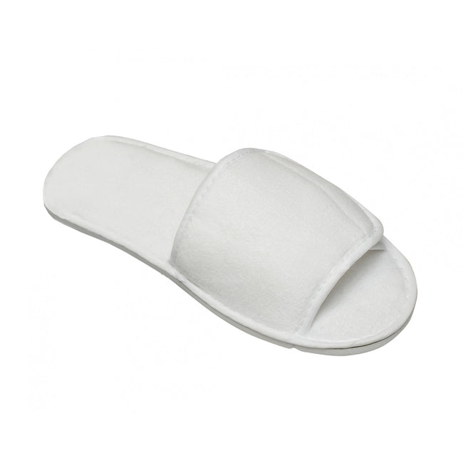 White - Front - Towel City Adults Unisex Open Toe Slippers
