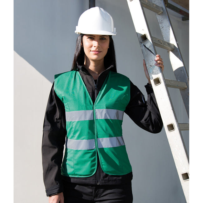 Paramedic Green - Back - Result Core Womens-Ladies Sleeveless Hi Vis Vest