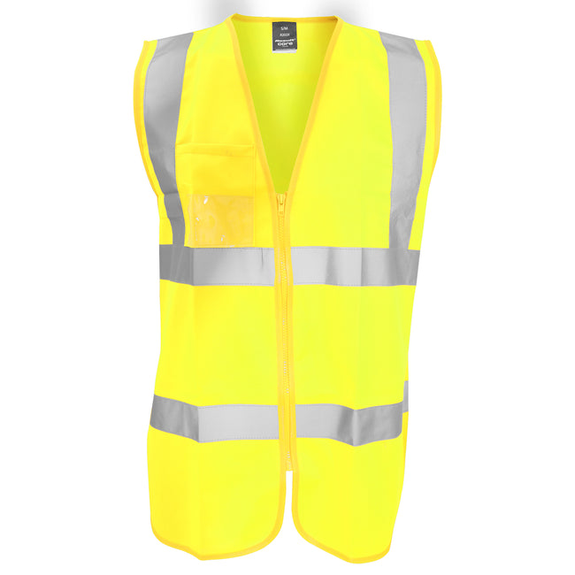 Fluorescent Yellow - Front - Result Core Mens Zip Through Hi Vis Safety Tabard-Vest