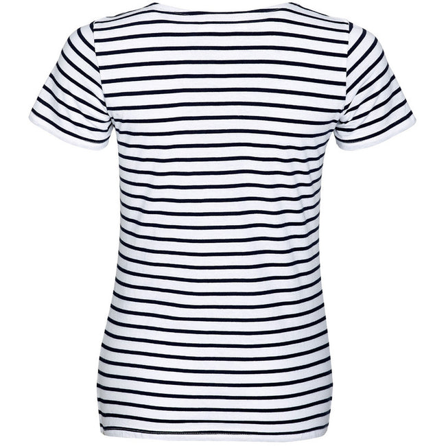White-Navy - Back - SOLS Womens-Ladies Miles Striped Short Sleeve T-Shirt