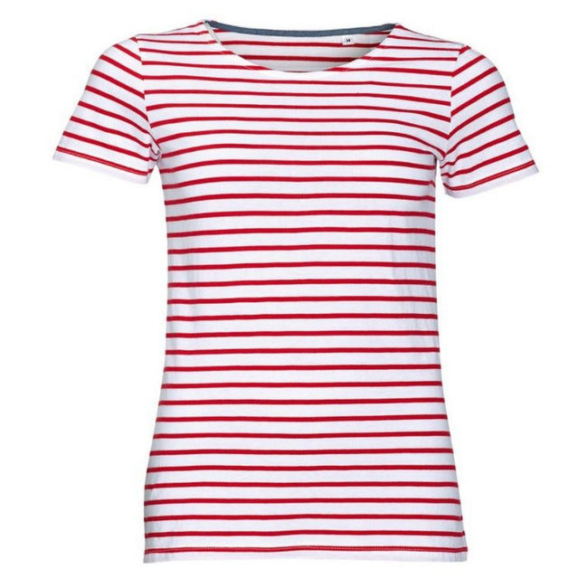 White-Red - Front - SOLS Womens-Ladies Miles Striped Short Sleeve T-Shirt