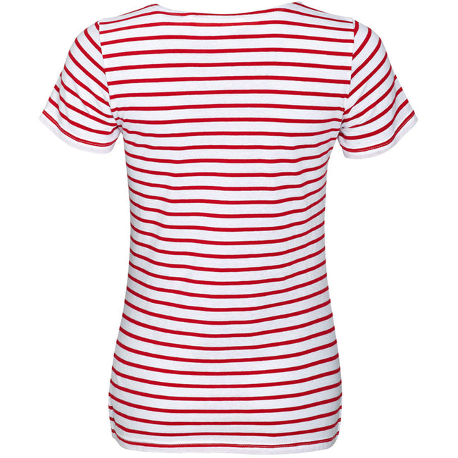 White-Red - Back - SOLS Womens-Ladies Miles Striped Short Sleeve T-Shirt