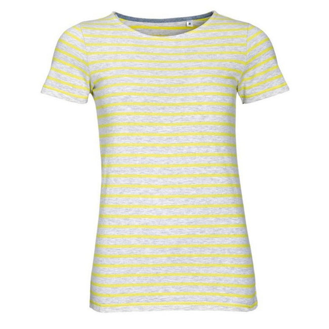 Ash-Lemon - Front - SOLS Womens-Ladies Miles Striped Short Sleeve T-Shirt