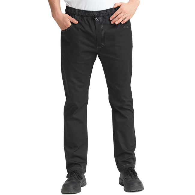 Black - Side - Le Chef Unisex Crease Resistant Prep Trousers