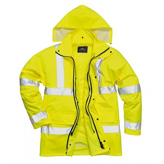 Yellow - Front - Portwest Mens Hi-Vis 4-In-1 Traffic Jacket