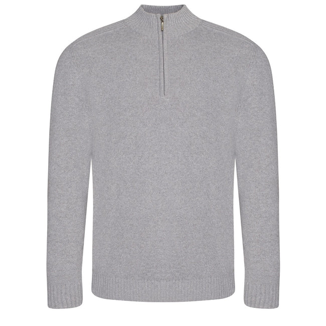 Heather - Front - Ecologie Mens Wakhan Zip Neck Sweater