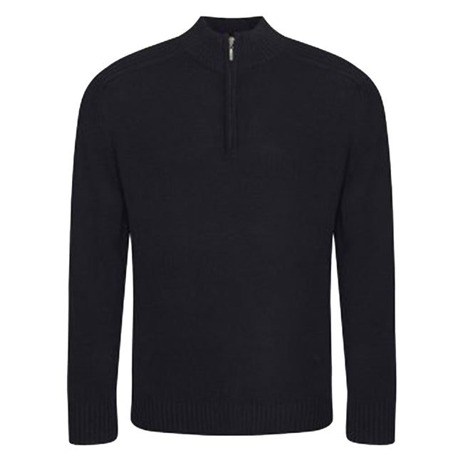 Black - Front - Ecologie Mens Wakhan Zip Neck Sweater