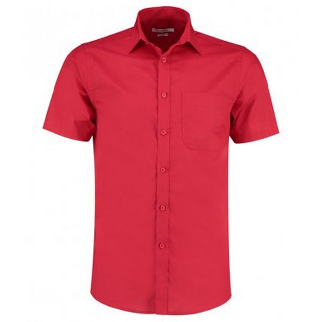 Red - Front - Kustom Kit Mens Short Sleeve Tailored Poplin Shirt