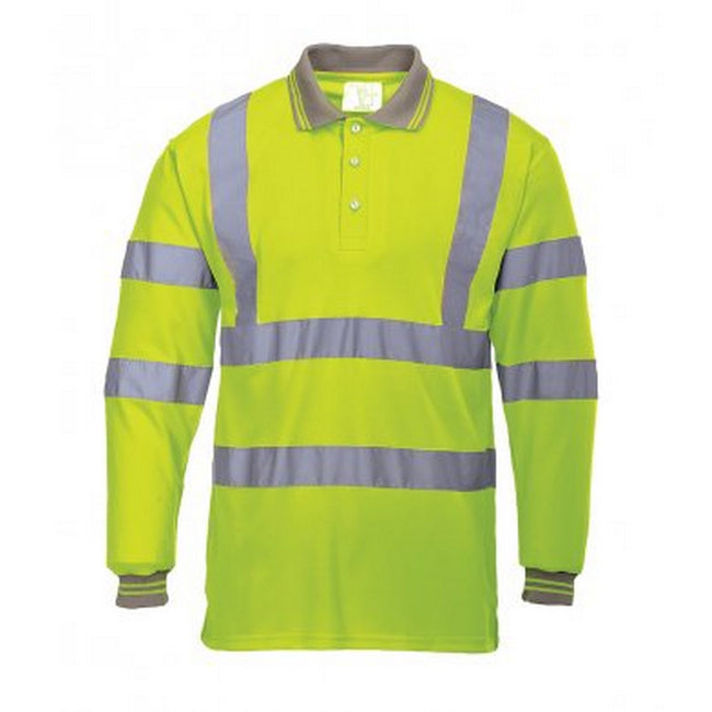 Yellow - Front - Portwest Mens Hi-Vis Long Sleeve Polo Shirt