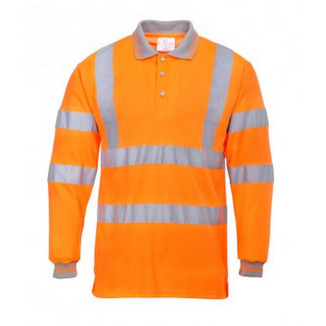 Orange - Front - Portwest Mens Hi-Vis Long Sleeve Polo Shirt