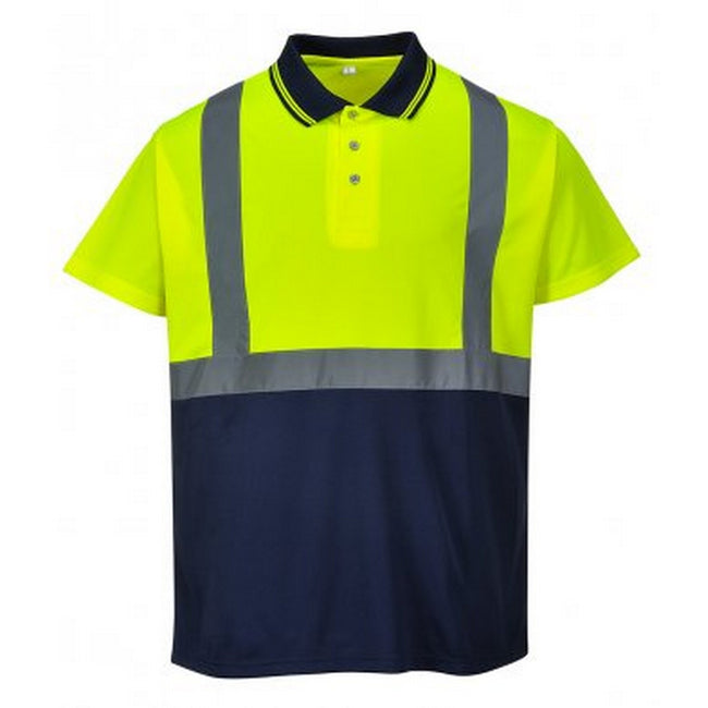 Yellow-Navy - Front - Portwest Mens Hi-Vis Two Tone Polo Shirt