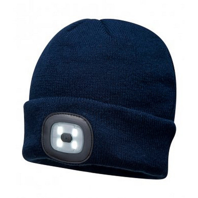 Navy - Front - Portwest Mens LED Head Light Beanie