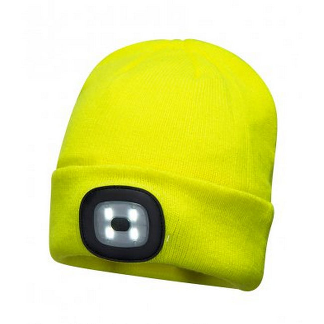 Yellow - Front - Portwest Mens LED Head Light Beanie