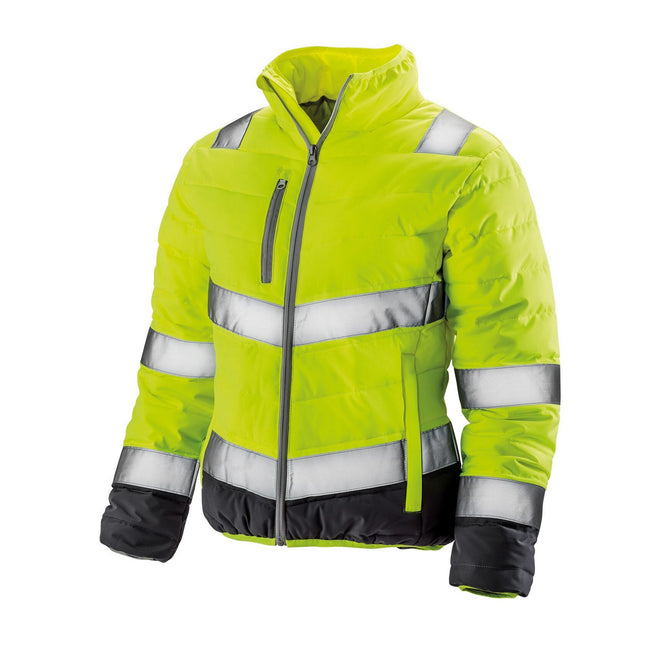 Fluorescent Yellow-Grey - Front - Result Womens-Ladies Safe-Guard Soft Safety Jacket