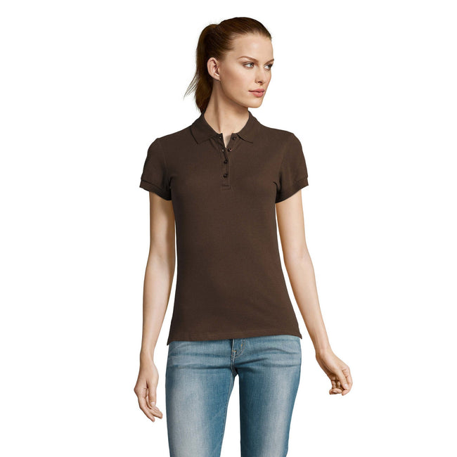 Gold - Front - SOLS Womens-Ladies Passion Pique Short Sleeve Polo Shirt