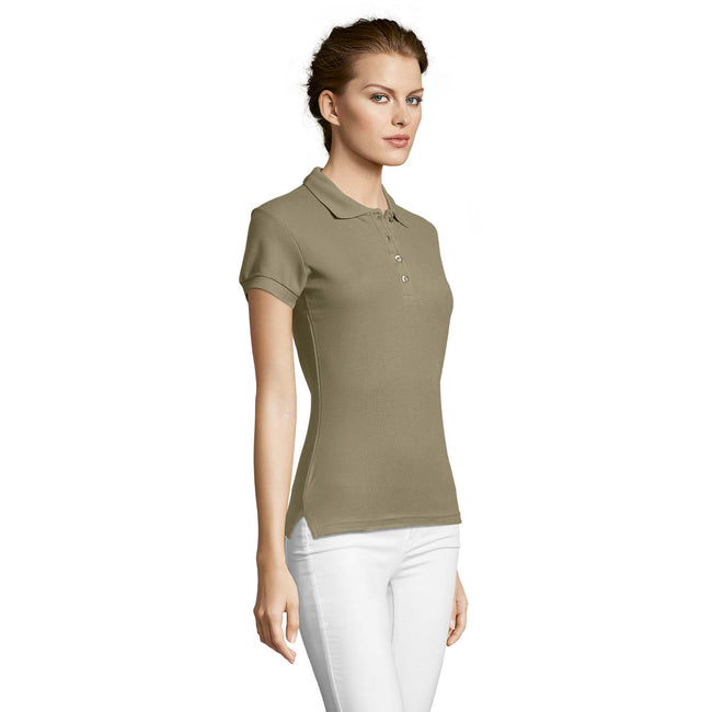 Apple Green - Side - SOLS Womens-Ladies People Pique Short Sleeve Cotton Polo Shirt