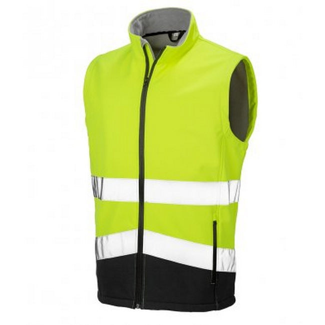 Fluorescent Yellow-Black - Front - Result Adults Safe-Guard Printable Safety Soft Shell Gilet