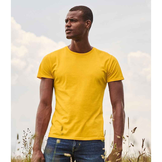 Sunflower Yellow - Back - Fruit Of The Loom Mens Iconic T-Shirt