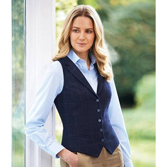 Charcoal Herringbone Grey - Front - Brook Taverner Womens-Ladies Nashville Waistcoat
