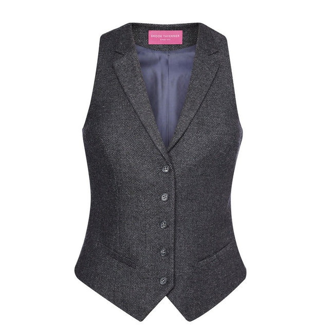 Charcoal Herringbone Grey - Back - Brook Taverner Womens-Ladies Nashville Waistcoat