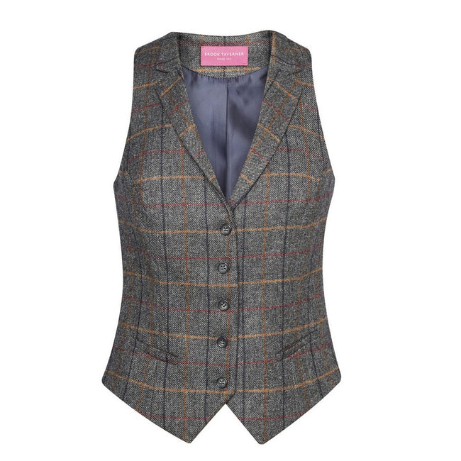 Grey Brown Check - Front - Brook Taverner Womens-Ladies Nashville Waistcoat