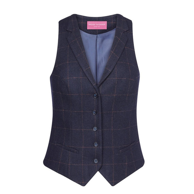 Navy Check - Front - Brook Taverner Womens-Ladies Nashville Waistcoat