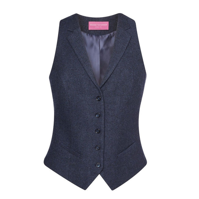Navy Herringbone - Front - Brook Taverner Womens-Ladies Nashville Waistcoat