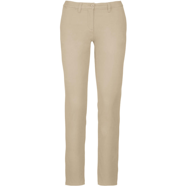 Beige - Front - Kariban Womens-Ladies Chino Trousers