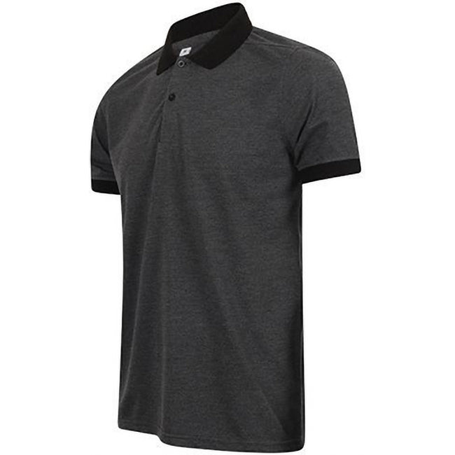 Heather Charcoal-Black - Side - Henbury Mens Contrast Tri-Blend Jersey Polo Shirt