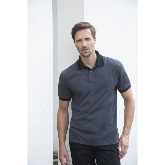Heather Charcoal-Black - Lifestyle - Henbury Mens Contrast Tri-Blend Jersey Polo Shirt