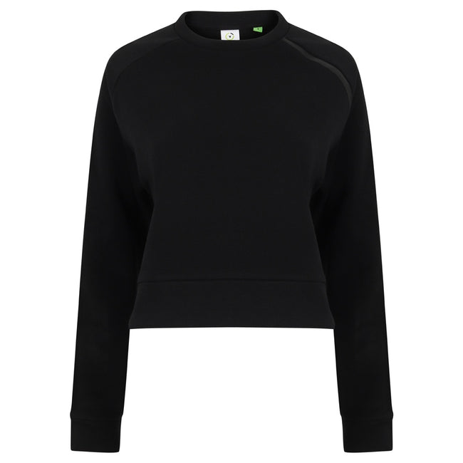 Black - Front - Tombo Womens-Ladies Cropped Sweatshirt