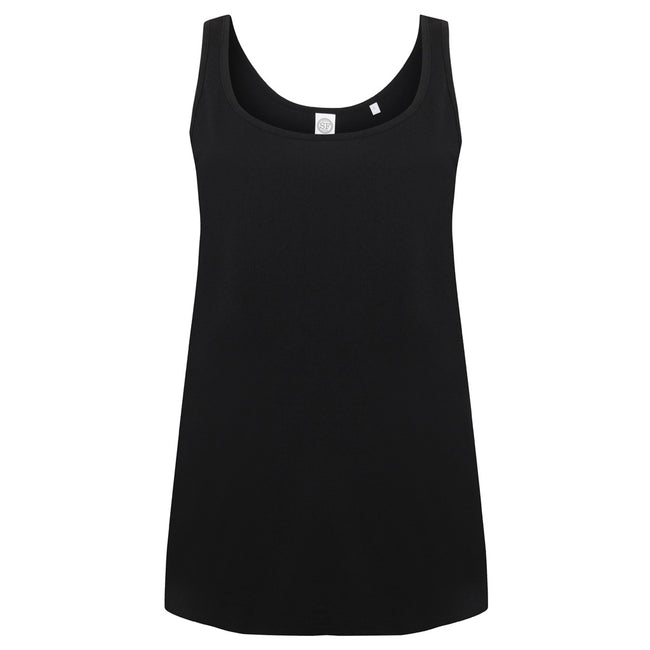 Black - Front - Skinni Fit Womens-Ladies Slounge Vest