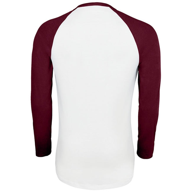 White-Burgundy - Back - SOLS Mens Funky Contrast Long Sleeve T-Shirt