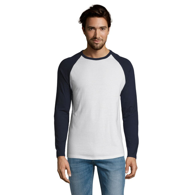 White-French Navy - Back - SOLS Mens Funky Contrast Long Sleeve T-Shirt