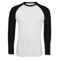White-French Navy - Pack Shot - SOLS Mens Funky Contrast Long Sleeve T-Shirt