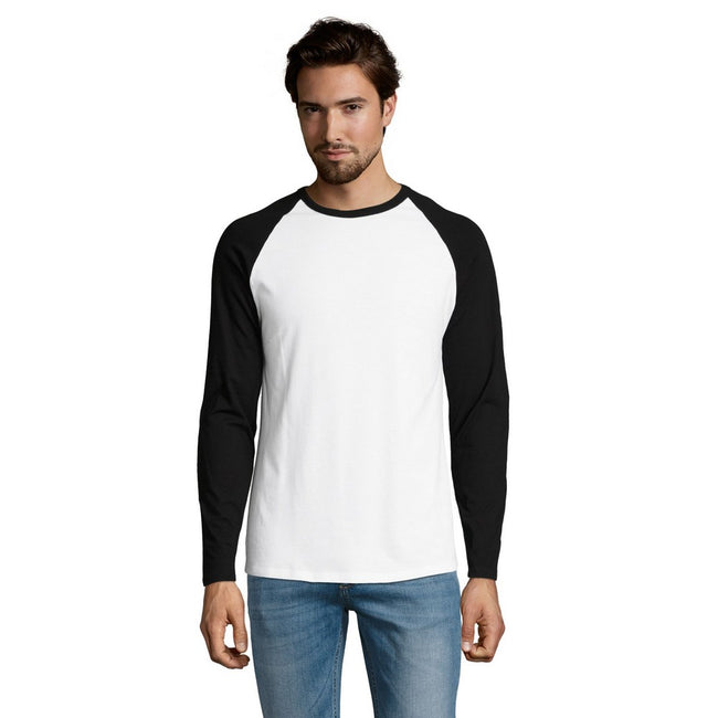 White-Deep Black - Front - SOLS Mens Funky Contrast Long Sleeve T-Shirt
