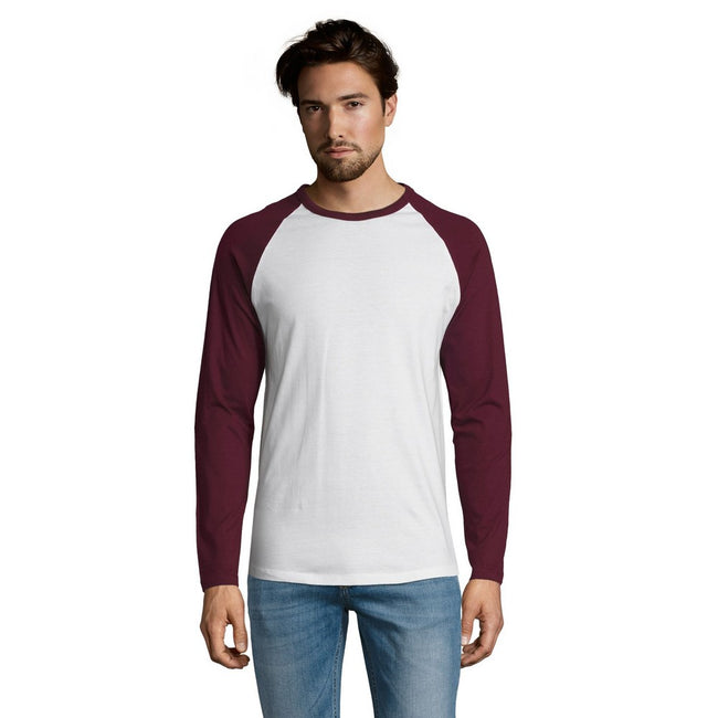 White-Burgundy - Front - SOLS Mens Funky Contrast Long Sleeve T-Shirt