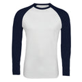 White-French Navy - Front - SOLS Mens Funky Contrast Long Sleeve T-Shirt